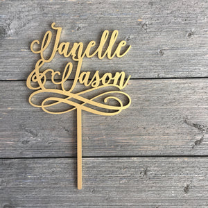 "Personalized 2 Names with Swirl Cake Topper, 5""W inches"