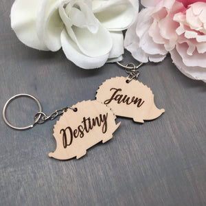 Personalized Hedgehog Keychain
