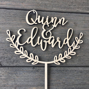 "Personalized Half Wreath 2 Names Cake Topper, 6""W (Open Style)"