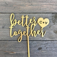"Load image into Gallery viewer, Better Together Cake Topper with Initials, 6""W"