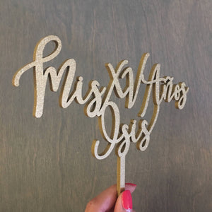 "Personalized Mis XV Anos Name Cake Topper, 7""W"