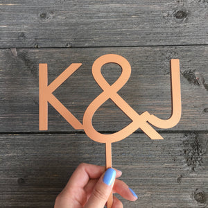 "Personalized 2 Initials Cake Topper, 5""W"