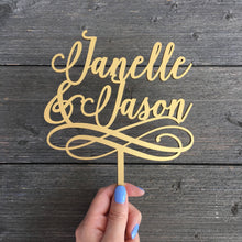 "Load image into Gallery viewer, Personalized 2 Names with Swirls Cake Topper, 6""W"