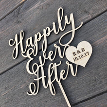 "Load image into Gallery viewer, Personalized Happily Ever After Heart Initials & Date Cake Topper, 6""W"