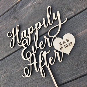 "Personalized Happily Ever After Heart Initials & Date Cake Topper, 6""W"