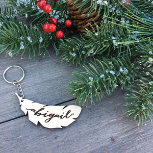 Personalized Feather Keychain