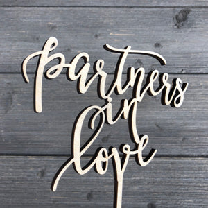 "Partners in Love Cake Topper, 6""W"