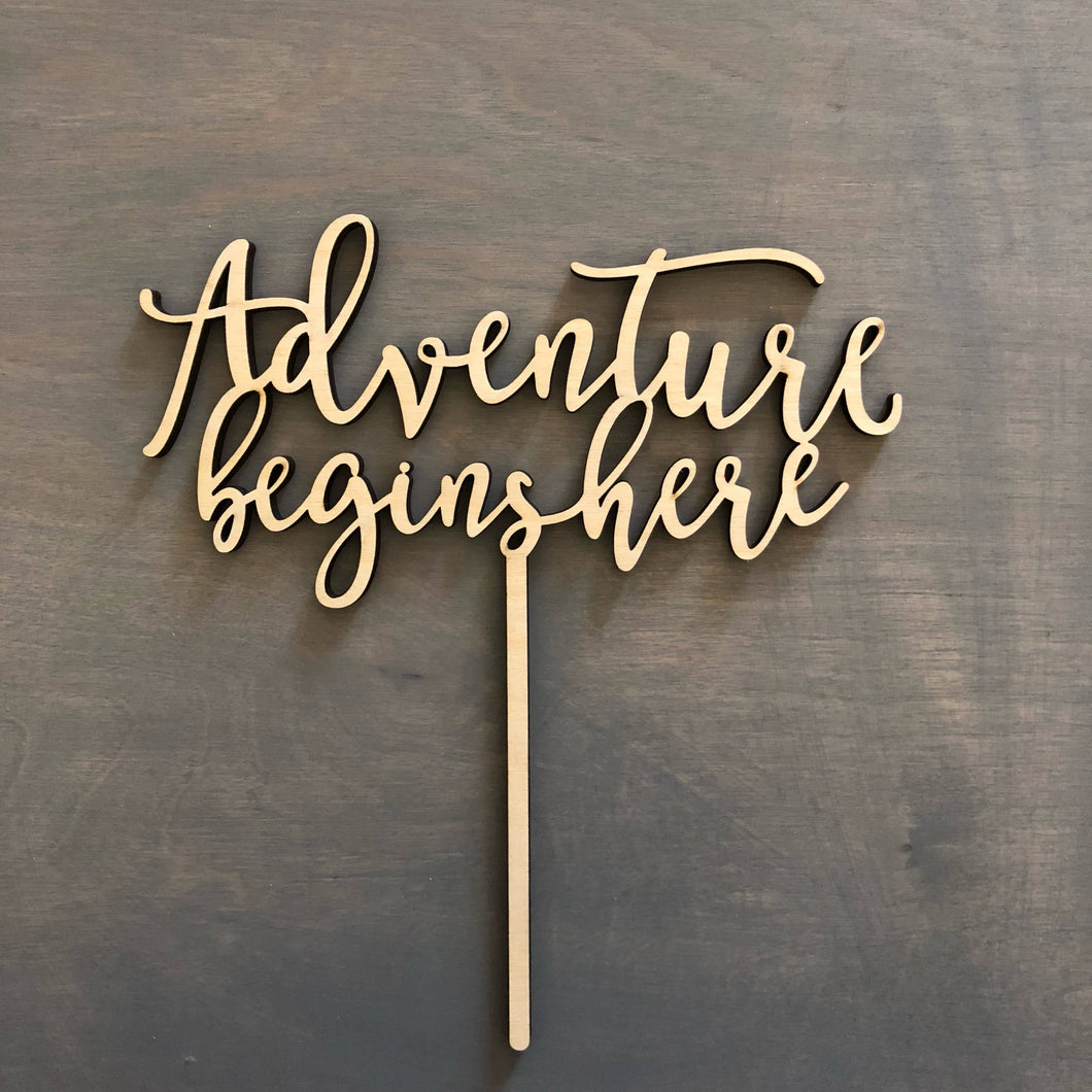Adventure Begins Here Cake Topper, 6