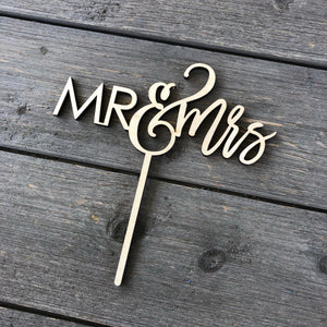 "Mr & Mrs Cake Topper, 6""W, Version 2 (Optional Personalization)"