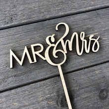 "Load image into Gallery viewer, Mr & Mrs Cake Topper, 6""W, Version 2 (Optional Personalization)"
