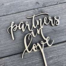 "Load image into Gallery viewer, Partners in Love Cake Topper, 6""W"