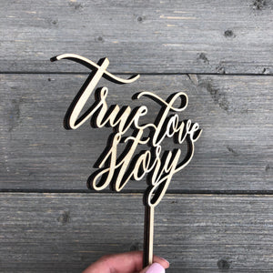 "True Love Story Cake Topper, 6.5""W"