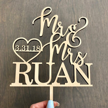 "Load image into Gallery viewer, Personalized Mr & Mrs Last Name Date Cake Topper, 6""W"