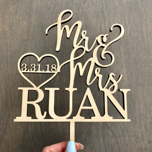 "Personalized Mr & Mrs Last Name Date Cake Topper, 6""W"