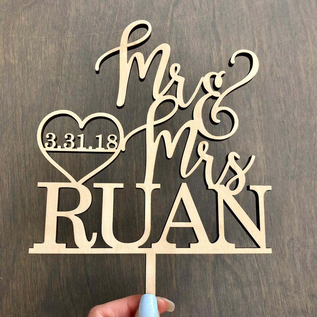 Personalized Mr & Mrs Last Name Date Cake Topper, 6