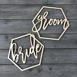 Bride & Groom Hexagon Chair Signs