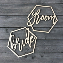 Load image into Gallery viewer, Bride & Groom Hexagon Chair Signs