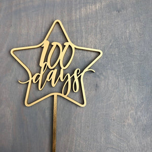 "100 Days Star Cake Topper, 5.5""W"
