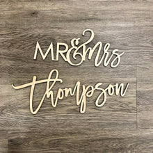 Load image into Gallery viewer, Mr & Mrs Last Name Sign
