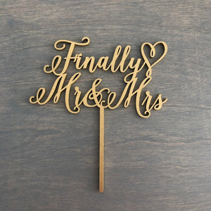"Finally Mr & Mrs Cake Topper, 6""W"