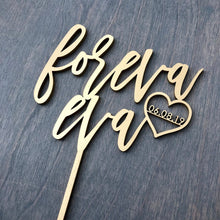 "Load image into Gallery viewer, Personalized Foreva Eva with Date Cake Topper, 6""W"