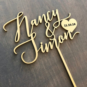 "Personalized 2 Names with Date Cake Topper, 6""W"
