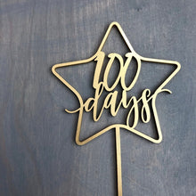 "Load image into Gallery viewer, 100 Days Star Cake Topper, 5.5""W"