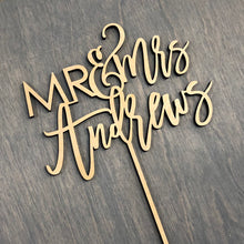 "Load image into Gallery viewer, Personalized Mr & Mrs Last Name Cake Topper, 6""W (Version 3)"