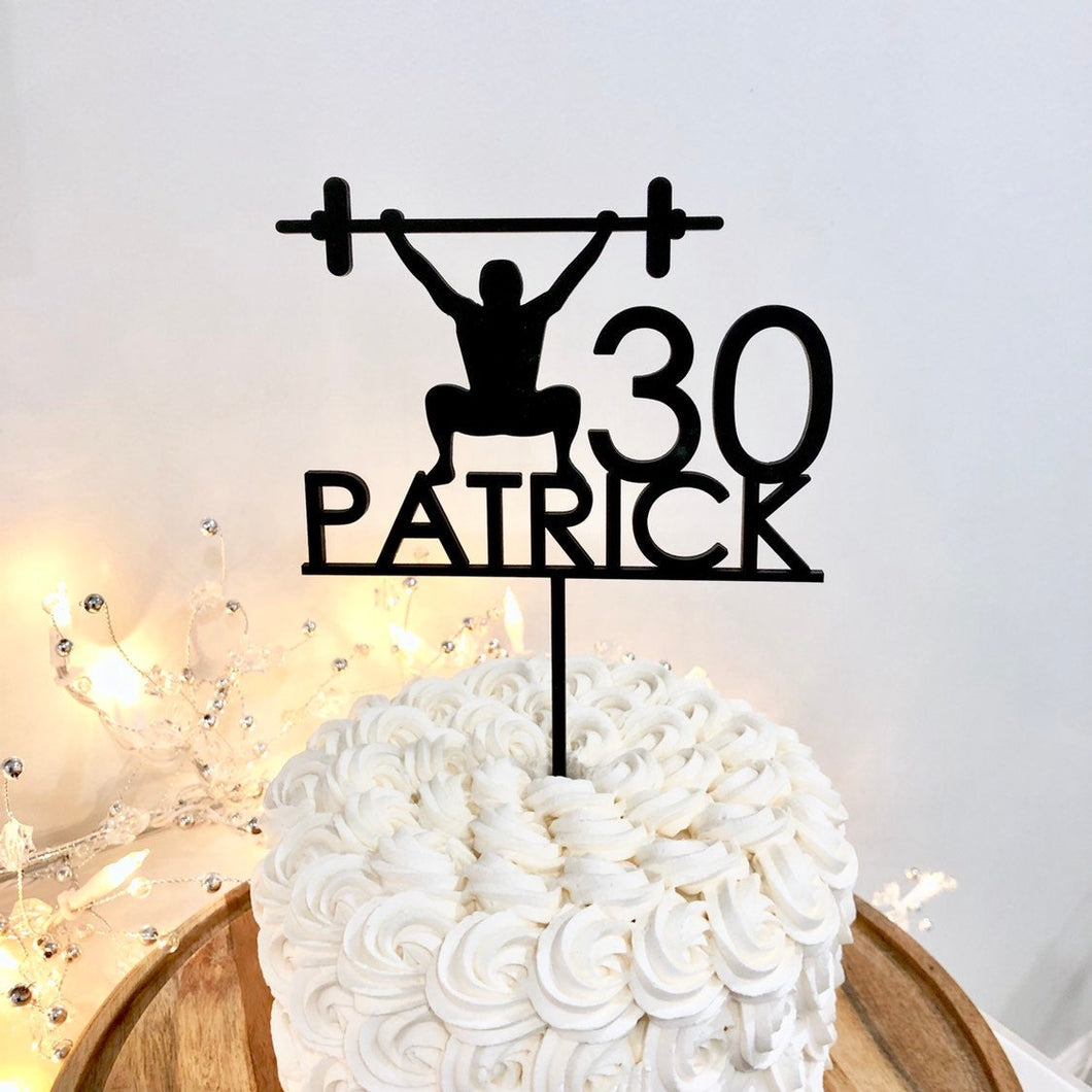 Personalized Name & Age Workout Cake Topper, 6