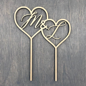 "Double Heart Initial Cake Topper, 6""W"