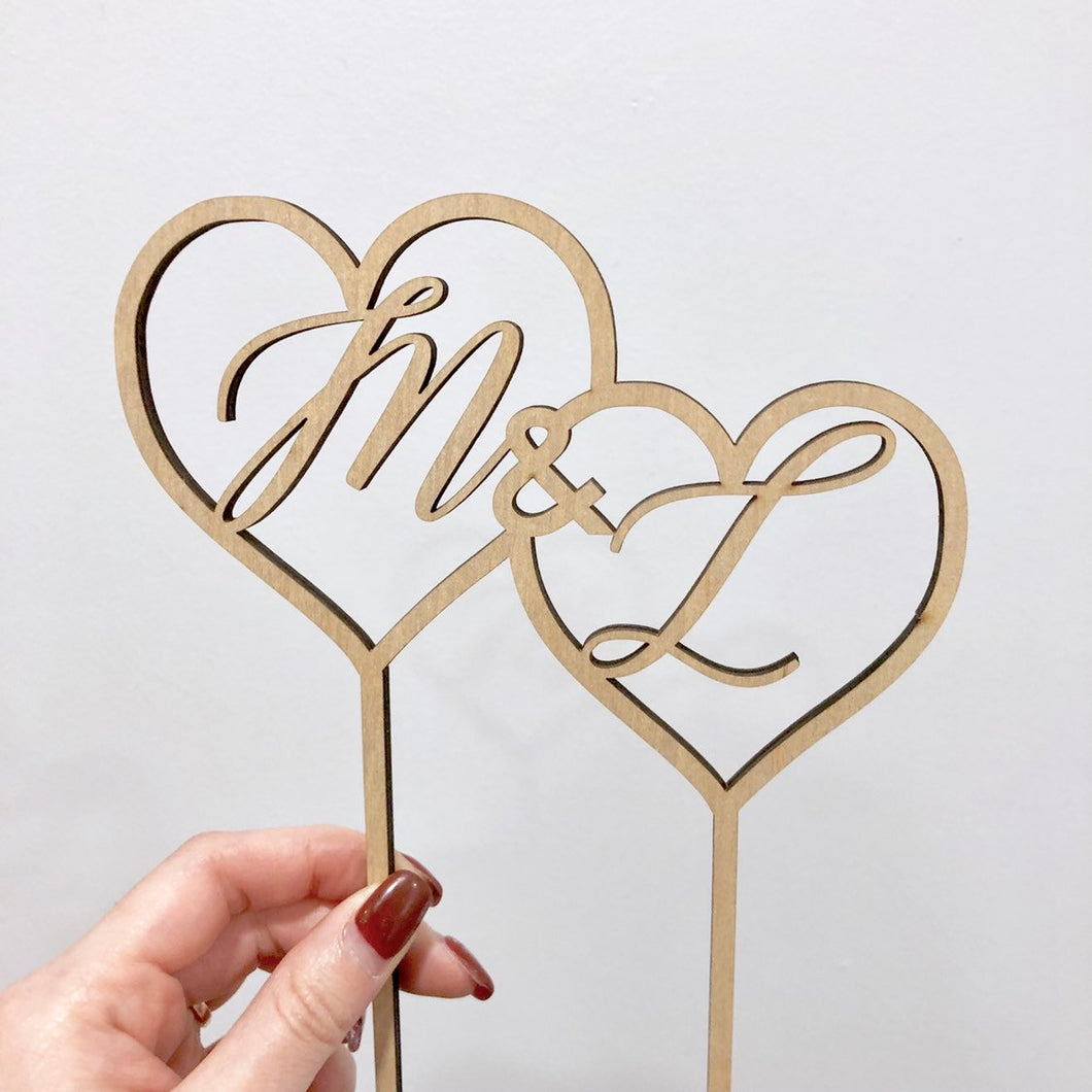 Double Heart Initial Cake Topper, 6