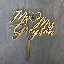 "Load image into Gallery viewer, Personalized Mr Heart Mrs Name with Date Cake Topper, 6""W (Version 2)"