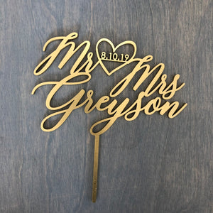 "Personalized Mr Heart Mrs Name with Date Cake Topper, 6""W (Version 2)"