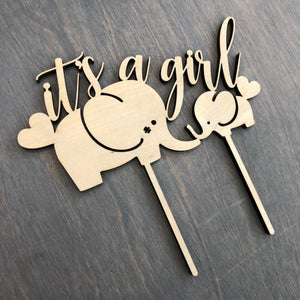 "It's a Girl Cake Topper with Elephants, 6""W"