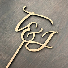 "Load image into Gallery viewer, Personalized Initials Cake Topper, 5""W (Script)"
