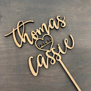 "Personalized Name Heart Name with Date Cake Topper, 6""W"