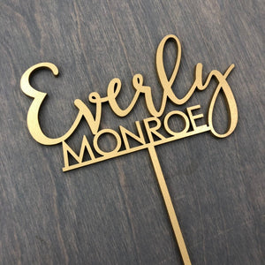 "Personalized 2 Names Baby Cake Topper, 6""W"