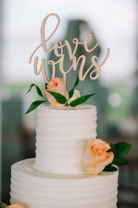 "Love Wins Cake Topper, 6""W"