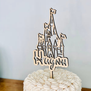 "Personalized Castle Name Cake Topper, 4""W"
