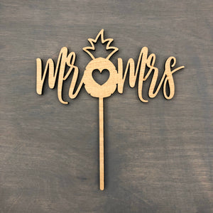 "Mr Pineapple Mrs Cake Topper, 6""W (Personalization Optional)"