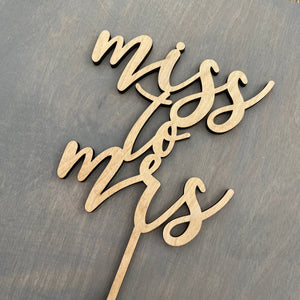 "Miss to Mrs Cake Topper, 5""W"