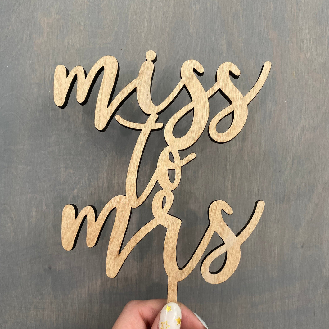 Miss to Mrs Cake Topper, 5
