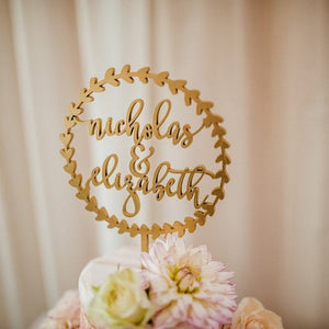 "Personalized Circle Wreath Name Cake Topper, 5.5""D"
