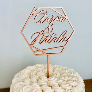 "Personalized Hexagon Names Cake Topper, 5""W (Version 2)"