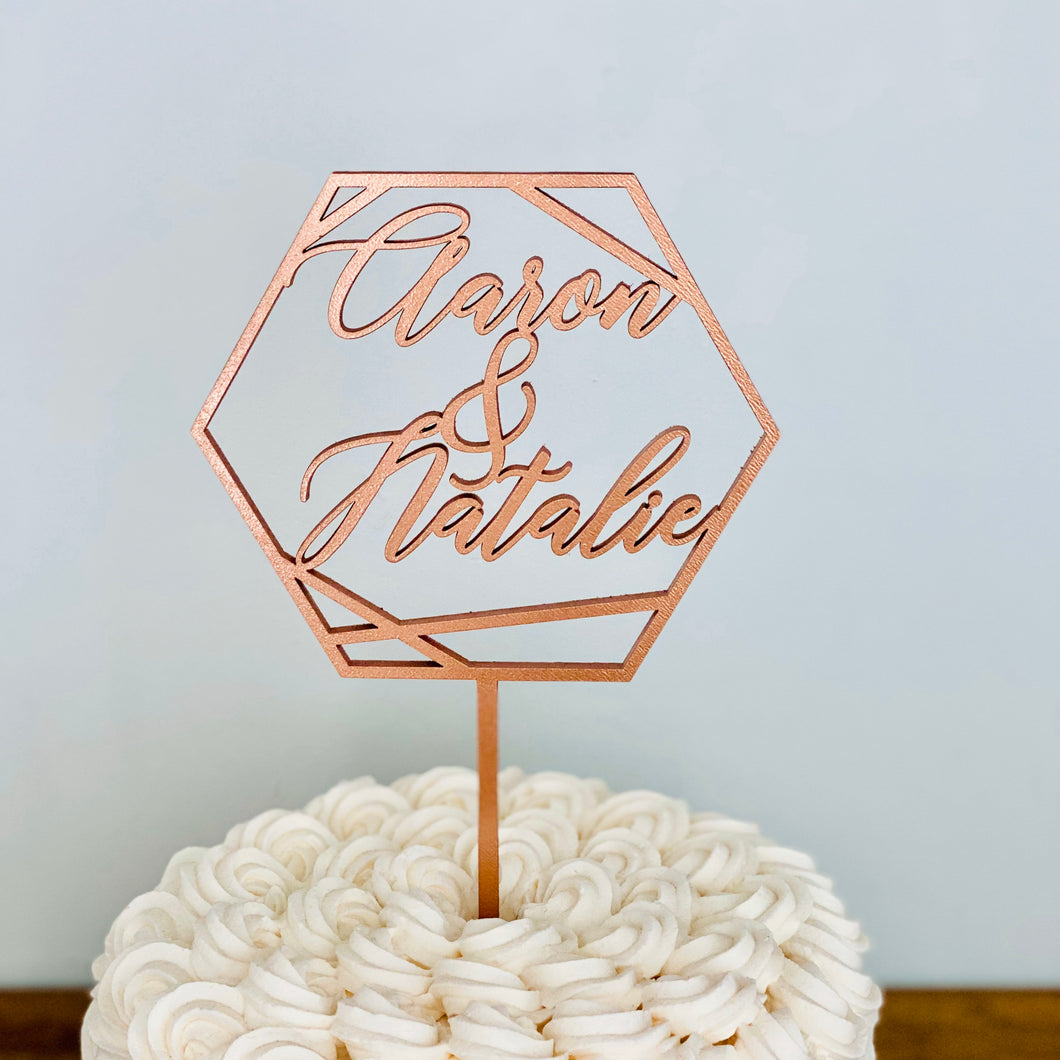 Personalized Hexagon Names Cake Topper, 5
