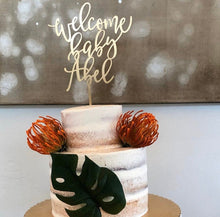 "Load image into Gallery viewer, Welcome Baby Name Cake Topper, 6""W"