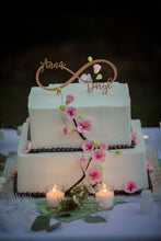 "Load image into Gallery viewer, Personalized 2 Names Infinity Cake Topper, 8""W"