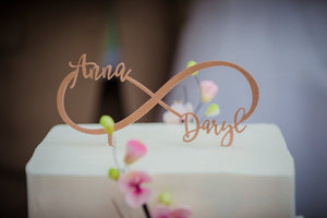 "Personalized 2 Names Infinity Cake Topper, 8""W"