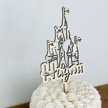 "Load image into Gallery viewer, Personalized Castle Name Cake Topper, 4""W"