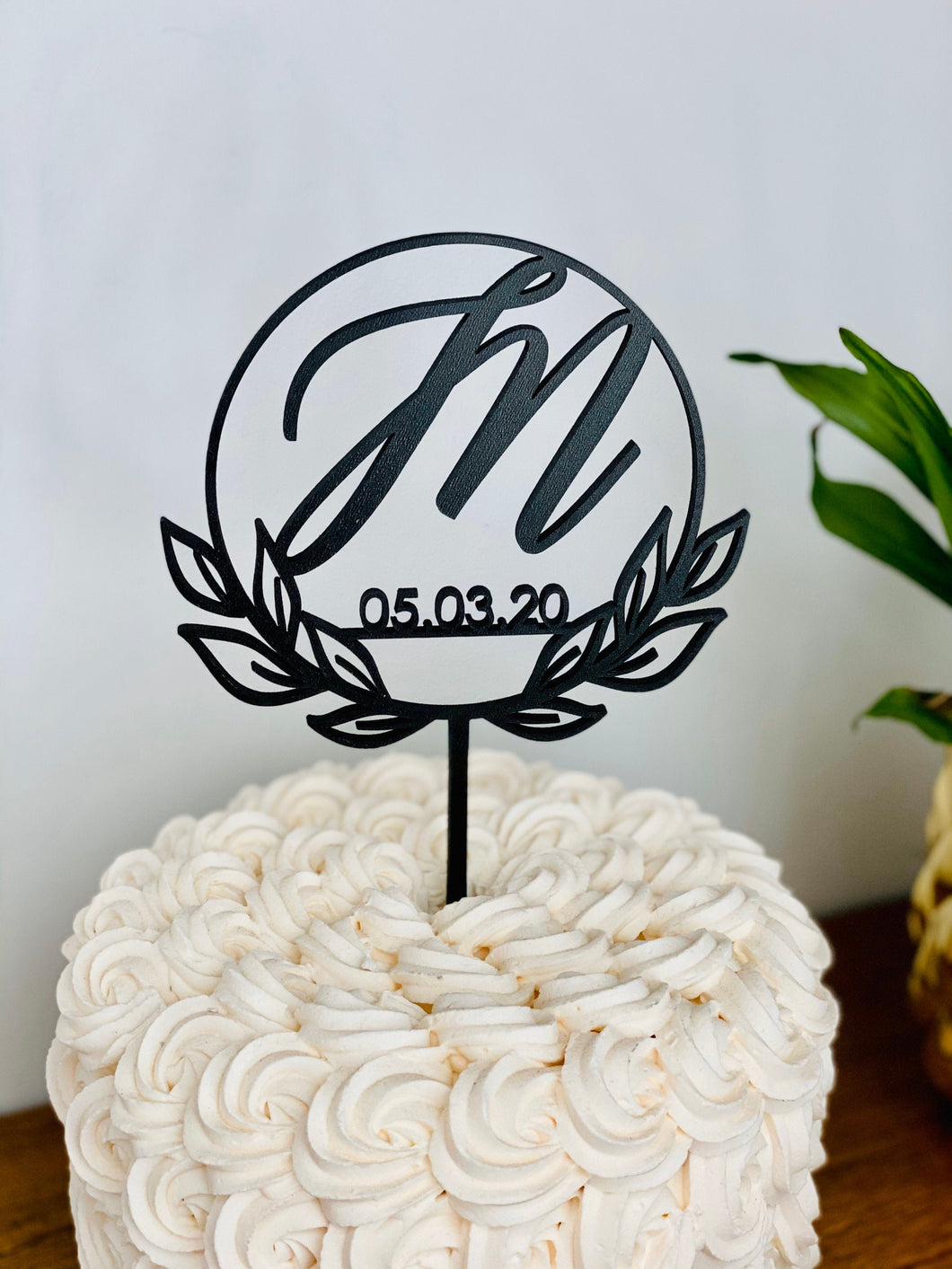 Personalized Initial Date Circle Half Wreath Cake Topper, 5
